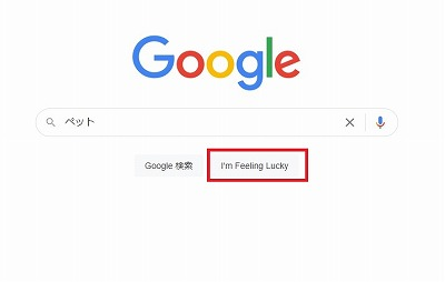 Google検索画面(I'm Feeling Lucky)