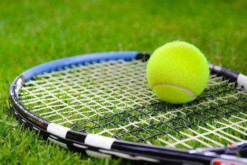 テニスラケットの上のテニスボール
